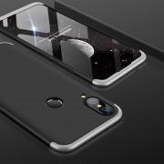 GKK Para Huawei P20 Lite PC 360 Grados La Plena Cobertura Protectora Caso Cubierta Trasera (negro + Plata)