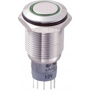 Întrerupător anti-vandalism 16 mm, iluminare 12V/inel, IP 67, 1 x ON/(ON), material oţel inoxidabil, buton plat, conexiune prin lipire, culoare led verde