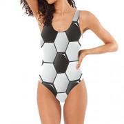 Senwei Traje de baño tankini con diseño de fútbol, color negro y blanco, para mujer y niña, de una pieza, con control de barriga, Multicolor, XL
