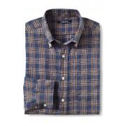 ランズエンド LANDS' END メンズ・リネン・シャツ/ロールアップ袖(シャンブレースモールプラッド)