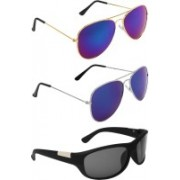 Abner Aviator, Aviator, Wrap-around Sunglasses(Blue, Blue, Black)