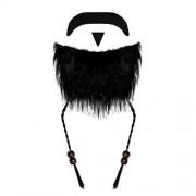 Robelli Black Fancy Dress Pirate Beard & Moustache with Beaded Plaits