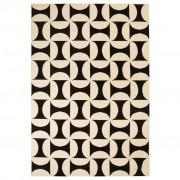 vidaXL Модерен килим, геометричен дизайн, 120x170 см, бежово/черно