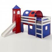IDIMEX Spielbett BENNY blau/rot, weiß lackiert