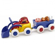 Viking Medium Primary Color 8 Tractor with Trailer and 4 Removable Figures (Driver Pig Horse & Cow)- Dishwasher Safe - Indoor & Outdoor Use