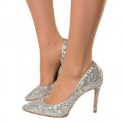 Scarpa Decolletè Pumps Tacco Alto 10 cm Eleganti Glitter Argento T: 35, 36, 38