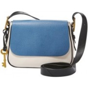 Fossil Women Blue Genuine Leather Sling Bag