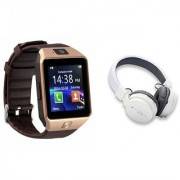 Mirza DZ09 Smart Watch and SH 12 Bluetooth Headphone for LG OPTIMUS L5 DUAL(DZ09 Smart Watch With 4G Sim Card Memory Card| SH 12 Bluetooth Headphone)