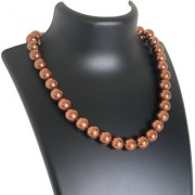 AriaSparkles Royal Fashion Imitation Pearl 12mm Pearl String Strand Moti Mala Women Girls Necklace (Brown)