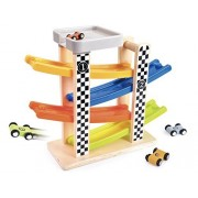 Wooden Ramp Racer Race Track Vehicle Playsets For Kids With 4 Mini Racers