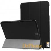 DrPhone Smart Tri-Fold Hoes Samsung Galaxy S3 9.7 inch Luxe Zwart Leer Hoesje Smart Cover - Book Case (Flip Cover) - Bescherming voor Voor- en Achterkant (Zwarte Leren)
