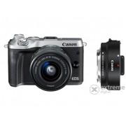 Kit Aparat foto Canon EOS M6 (cu un obiectiv 15-45mm), argint + adaptor Canon EF-S-EOS M