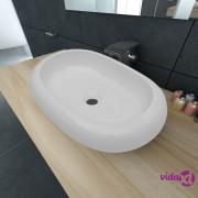 vidaXL Luksuzni Keramički Ovalni Umivaonik Bijeli 63 x 42 cm