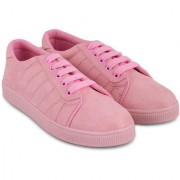 Trendy Look All Weather Suede Sneakers For Women (Pink)