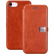 Lenuo Para IPhone 8 Y 7 PU + TPU Caballo Loco Con Textura De Funda De Cuero Flip Horizontal Ranuras De Tarjeta (Brown)