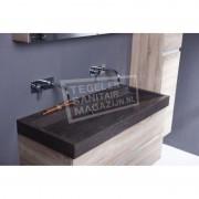 Forzalaqua Palermo Wastafel 120 cm Hardsteen Gezoet 120,5x51,5x9 cm 1 wasbak zonder kraangaten