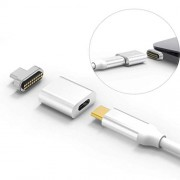 Chezaa Micro Fast Charging Connector Converter Cable, 10Gbp/s Magnet USB3.1 Type C Power Delivery (Silver)