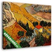 Vincent Van Gogh: Tájkép házzal és földművessel (30x25 cm, Vászonkép )