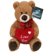 Star Walk Brown Bear Plush with Red Bow and Love You Heart, Multi Color