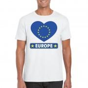 Bellatio Decorations Europese vlag in hartje shirt wit heren