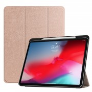 Tri-fold Leather Stand Smart Protection Case with Pen Slot for iPad Pro 11-inch (2018) - Rose Gold