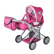 Knorrtoys Knorr Toys Knorr61888 Combi Kyra Pink with Butterfly Dolls Pram and Buggy
