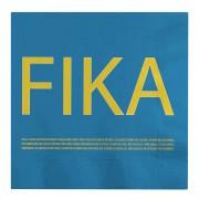 I Love Design Fika Servett Blå engelsk text 16,5x16,5 cm