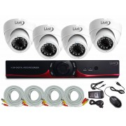 Kit LKM Security Videosorveglianza DVR AHD analogico 4 canali con telecamere da Esterno con infrarossi P2P