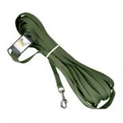 Hundkoppel polyester m karbinhake, grönt, 20mm x 15meter