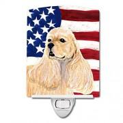 Caroline's Treasures Bandera Estadounidense con luz Nocturna Cocker Spaniel, 6 x 4 Pulgadas, Multicolor