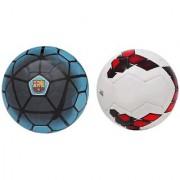 FCB Blue + Premier League Red/Purple Football (Size-5) Pack of 2 Footballs