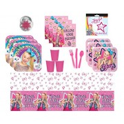 Jpmd Party House Combined JoJo Siwa Supplies Kit for 16 Guests - Plates, Cups, Napkins, Table Cover, Cutlery, Stickers