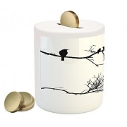 Lunarable Birds Piggy Bank, Monochrome Tree Branch with Ravens Silhouettes Abstract Sketch Style Bird Design, Printed Ceramic Coin Bank Money Box for Cash Saving, Black White