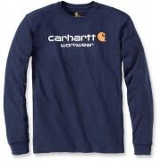 Carhartt Core Logo Camisa de manga larga Azul Oscuro XL
