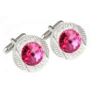 Mousie Bean Crystal Cufflinks Round 70's 083 Rose