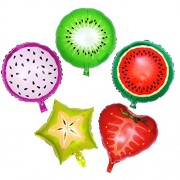 5pcs 18 inch Fruits Helium Aluminum Foil Balloons for Birthday Wedding Party Decoration (Watermelon, Kiwi, Dragon Fruit, Strawberry and Carambola)