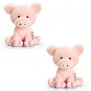 Keel Toys 2x Pluche varken knuffels 14 cm