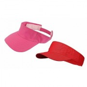 Cotton Sunhat Beach Baseball Visors Tennis Mens/Women's Cap Pack of 2 Pink Red