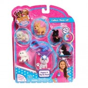 NEW! Puppy in My Pocket Figures 5 Puppies & Blue Clip On Pouch