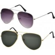 Freny Exim Aviator Sunglasses(Violet, Green)