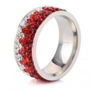 Piros kristályos, színátmenetes nemesacél gyűrű