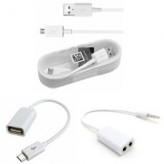 USB Data Cable/OTG Cable/Audio Extension Cable (Combo of 3)