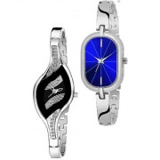Varni Retail Black Leaf Dial And Blue Rectangle Silver Chain 2 Combo Watch For Girls And Women