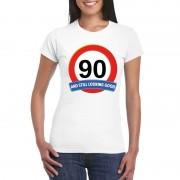 Bellatio Decorations Verkeersbord 90 jaar t-shirt wit dames