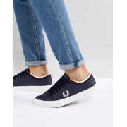 Fred Perry Kendrick Tipped Cuff Leather Trainers In Navy - 608