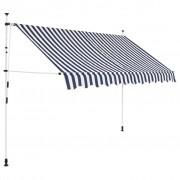 vidaXL Auvent rétractable manuel 300 cm Rayures bleues et blanches