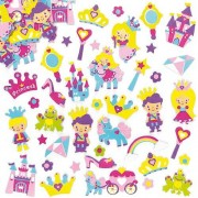 Baker Ross Princess Stickers - 120 foam stickers for crafts. Size 10mm-50mm. 30 assorted designs