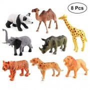 TOYMYTOY 8pcs Plastic Forest Animal Figure Realistic Animals Model Figure Toy Early Education Cognitive Toys (Assorted)