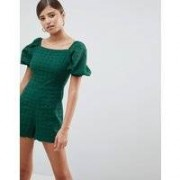 Fashion Union - Broderad playsuit med puffärmar - Green broderie