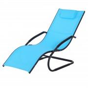 Outsunny Sedia Sdraio da Giardino per Esterni Design Ergonomico Poggiatesta Rimovibile, Azzurro, 150x63x89cm